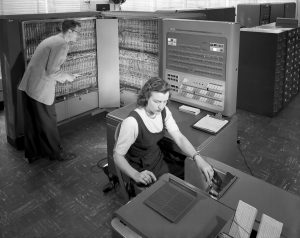 1957: an IBM type 704 electronic data processing machine used for making computations for aeronautical research.  Today's smartphones are more powerful that this!